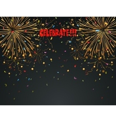Celebration background with fireworks and colorful vector image