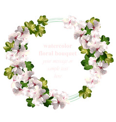 Cherry flowers wreath watercolor invitation card vector
