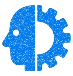 Cyborg head grainy texture icon vector