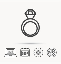 Engagement ring icon jewellery with diamond vector
