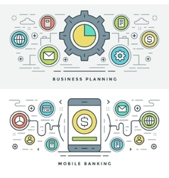 Flat line Business Planning and Banking vector image