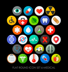 Flat round icon set 6-medical vector