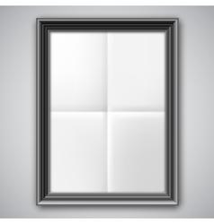 Folded paper in black frame vector
