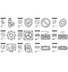 Gadgets line icon set vector