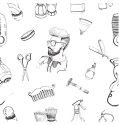 hand drawn barbershop seamless pattern with vector image vector image