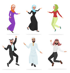 happy group of cute arab people jumping cartoon vector image vector image