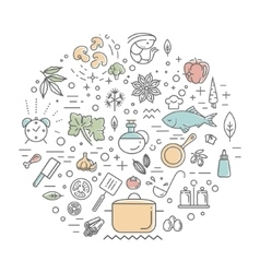 icon collection - kitchen tools and utensils vector image
