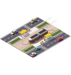 isometric tram station vector image