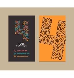 Number 4 Logo Business card vector image