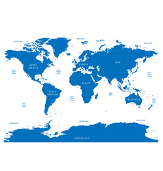 oceanographical map of world with labels of oceans vector image