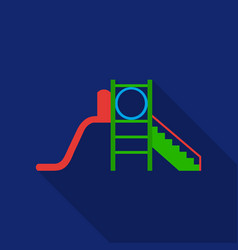 Playground slide icon in flat style isolated on vector