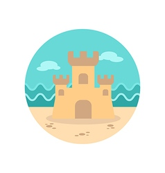 Sand castle icon summer vacation vector