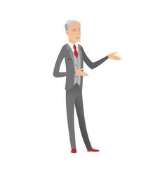 Senior caucasian happy businessman gesturing vector
