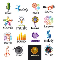 set of logos music and sounds vector image