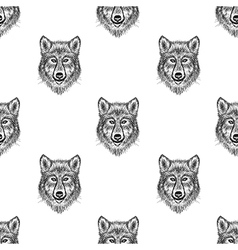 Sketch wolf seamless pattern hand drawn vector