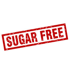 square grunge red sugar free stamp vector image vector image