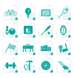 stylized simple sports gear and tools icons vector image