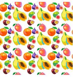 Tropical fruits vitamin food seamless pattern vector
