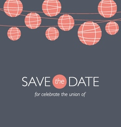 Wedding invitation balloons paper lamps vector