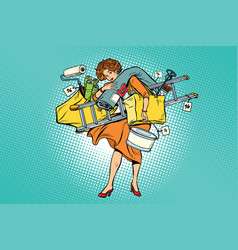 Woman with shopping repair tools vector