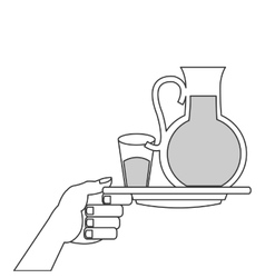 Glass pitcher and cup with liquid on plate icon vector