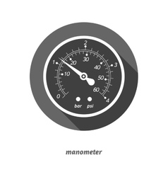 Flat styled manometer with vector