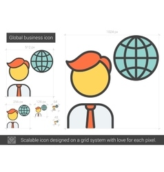 Global business line icon vector