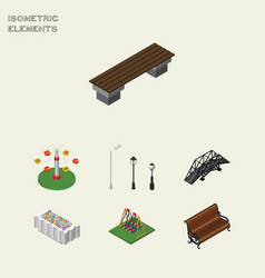 Isometric urban set of flower decoration seesaw vector