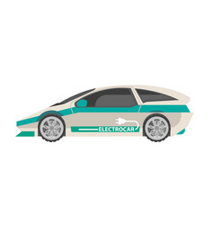 Modern white electrocar with turquoise stripes vector