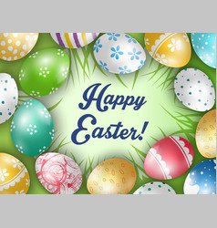 Easter colorful eggs with a grass background vector