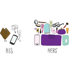Comparing of his and hers stuff in bag vector