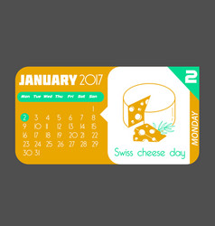 2 january swiss cheese day vector