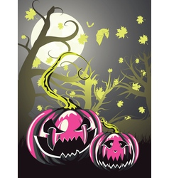 Scary pumpkins in forest4 vector
