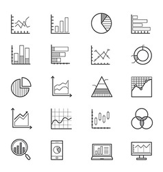 Business chart and graph icons line vector
