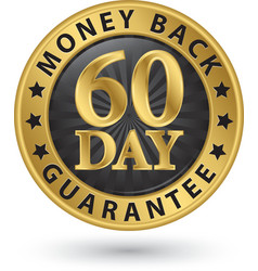 60 day money back guarantee golden sign vector