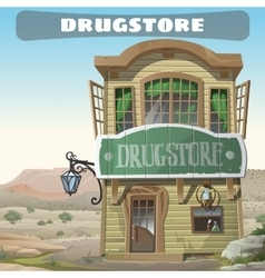 Old two-story pharmacy in the wild west vector