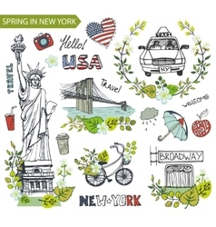 Spring in new yorkfamous landmarksfloral decor vector