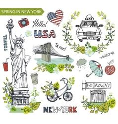 Spring in New YorkFamous landmarksfloral decor vector image