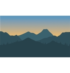 Silhouette of hills with gray background vector