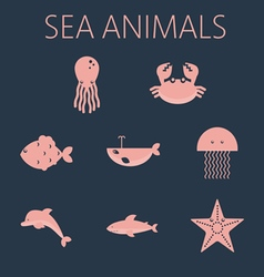 Pink sea animal set in outlines vector