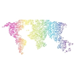 Halftone letters world map continents for vector