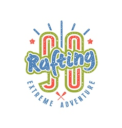 Rafting club emblem in retro style number vector