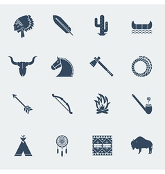 American native indians icons isoated vector