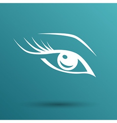 blue eye with long lashes woman makeup beauty vector image