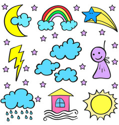 Collection of weather style doodles vector