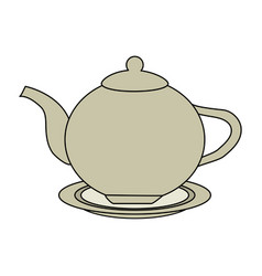color image cartoon porcelain tea kettle for hot vector image