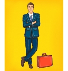 Confident pop art man in a suit vector image vector image