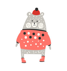 Cute dotted gray bear in a red sweater and red hat vector