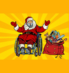 Disabled santa claus is in a wheelchair christmas vector