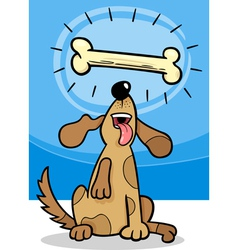dog with dogbone cartoon vector image